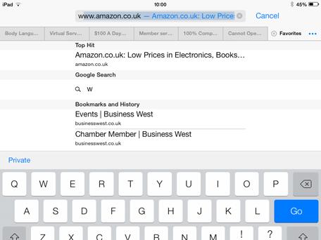 iPad Search Bookmarks