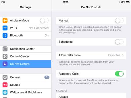 iPad Mini Do Not Disturb